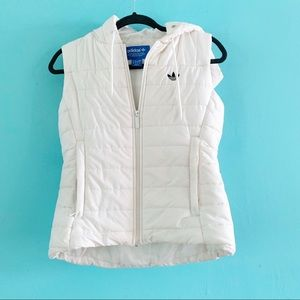 Adidas puffer vest white Small